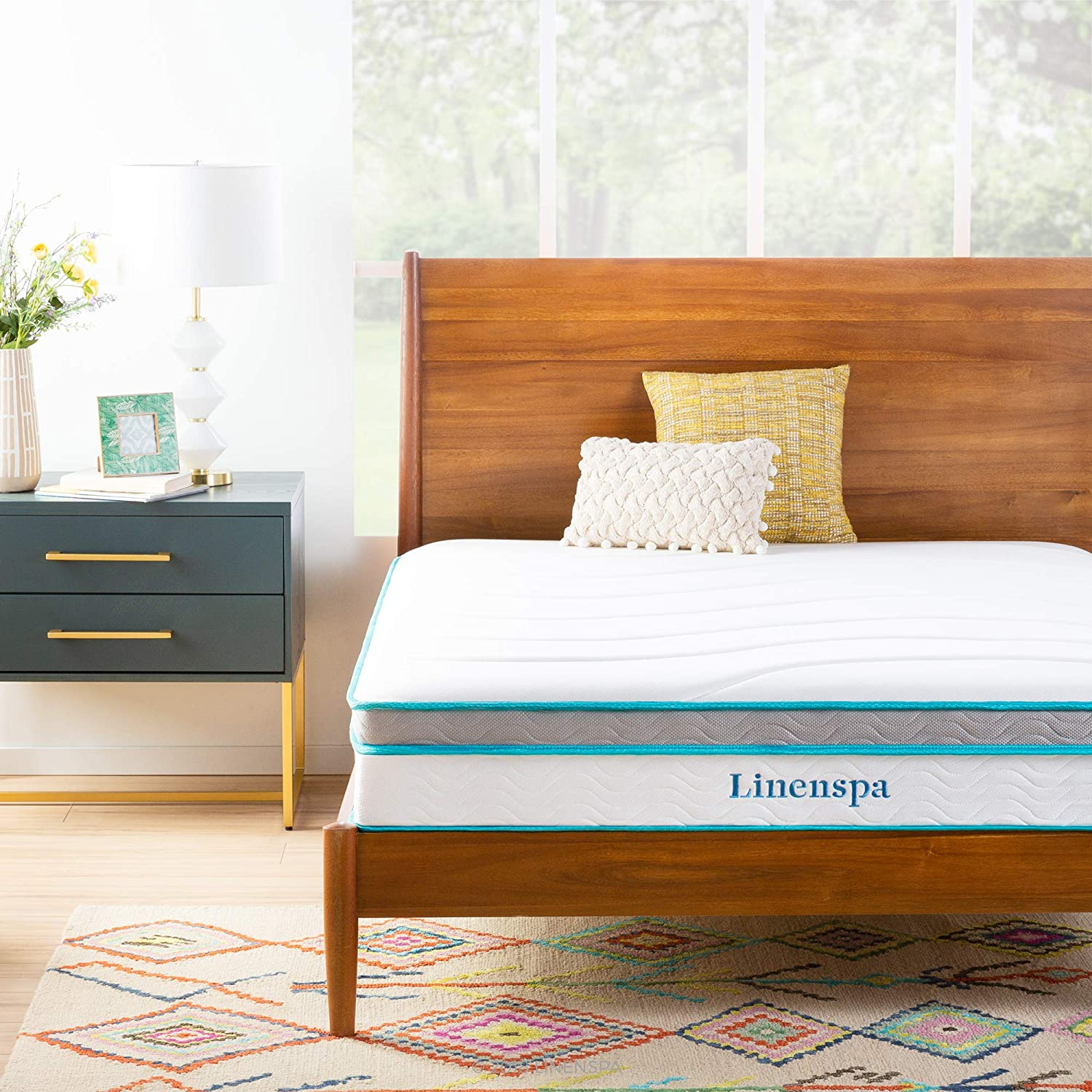 Linenspa Memory Foam and Innerspring Hybrid Mattress - Medium Feel - Twin,10 Inch