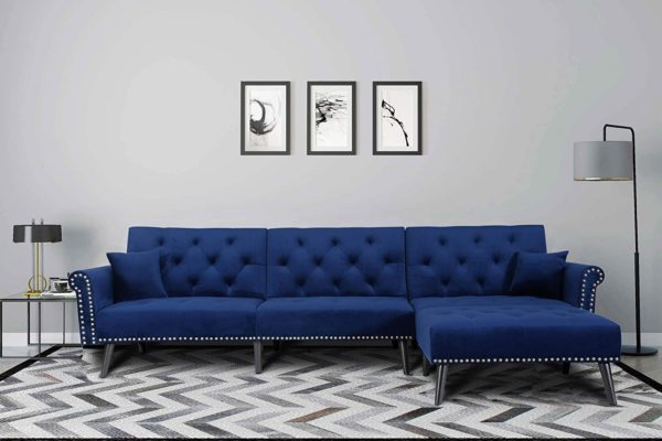 elvet Fabric Sectional Sofa Set Corner Couch with Chaise Lounge Living Room Furniture (Navy Blue)