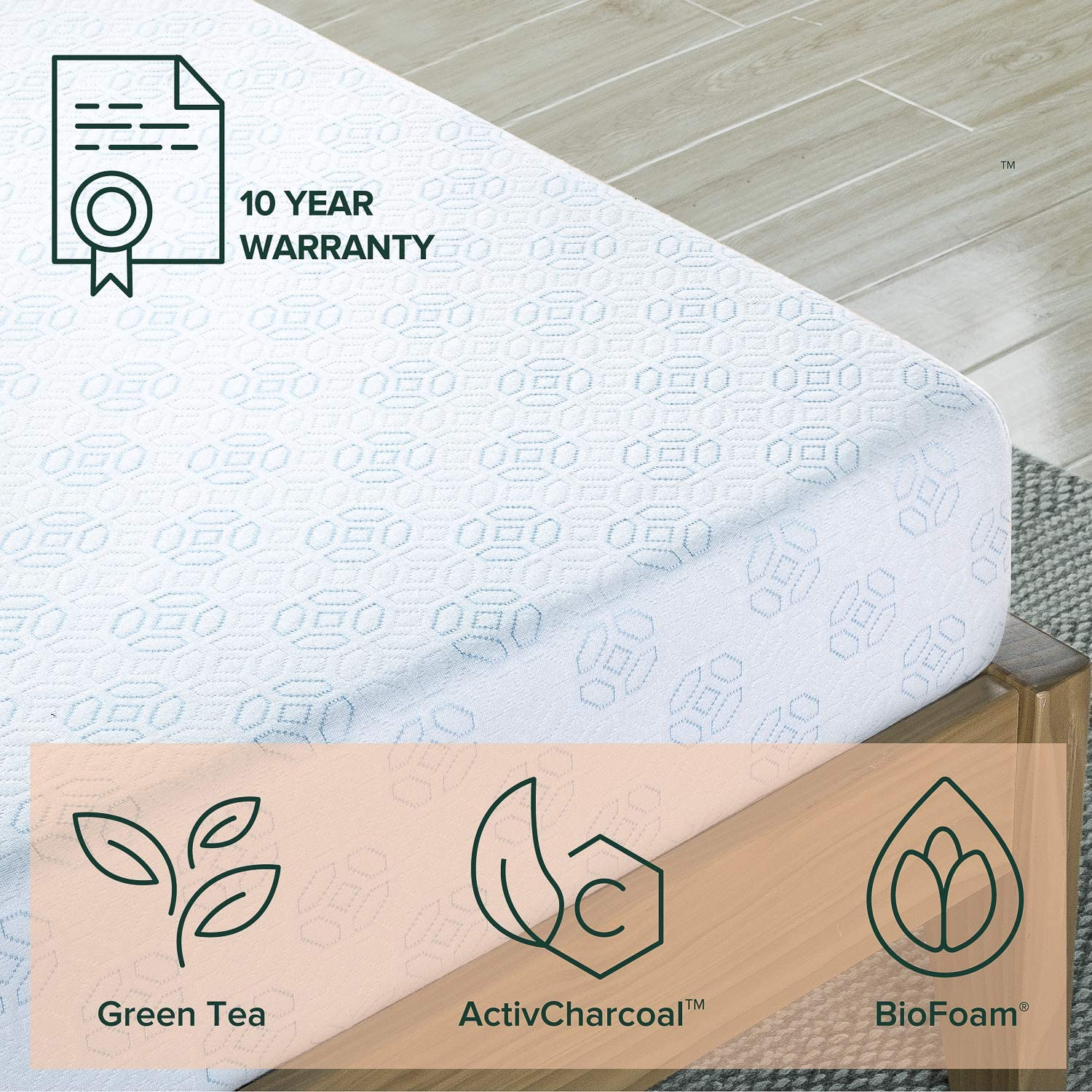 Zinus 6 Inch Gel-Infused Green Tea Memory Foam Mattress, Twin