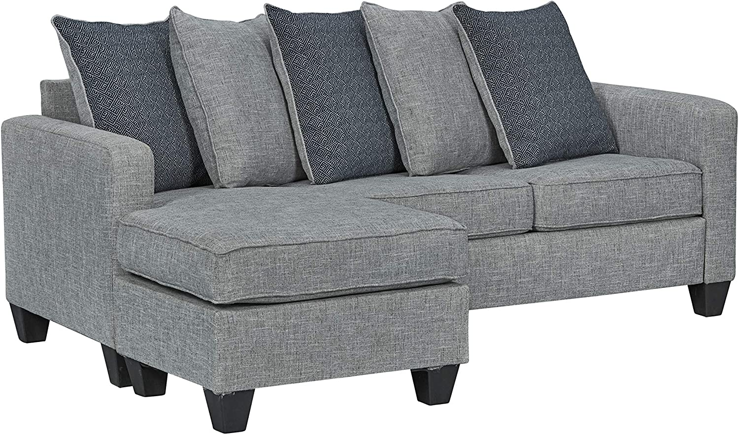 """Ready To Live 57th Street Sofa Sectional, 81"""", Light Grey"""