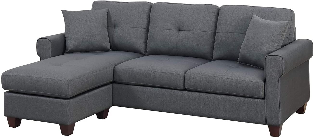 Bobkona Sectional Sofa Charcoal