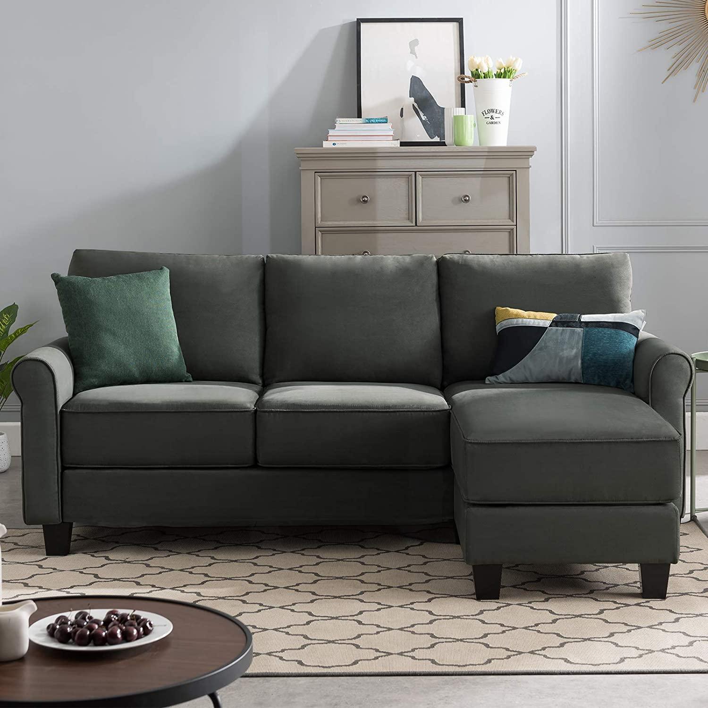 Bobkona Sectional Sofa Charcoal