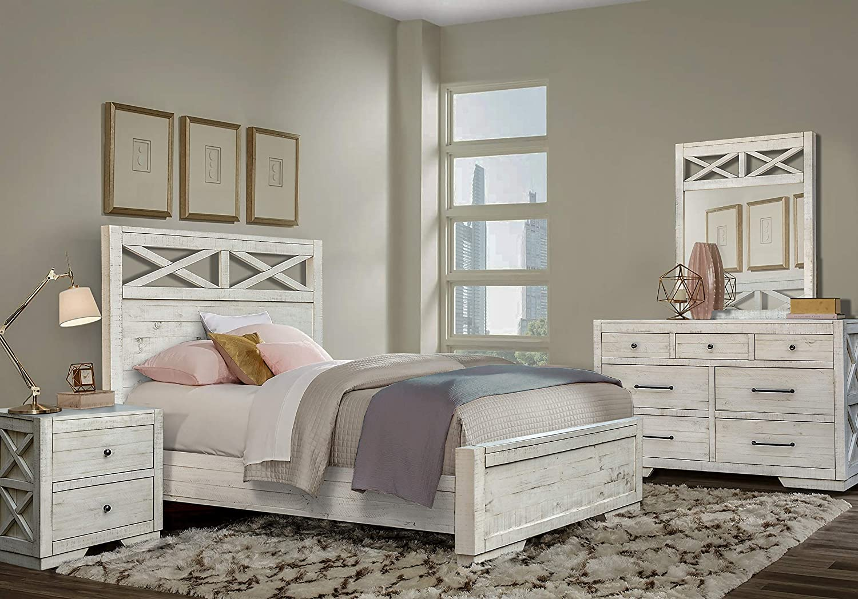 Cottage Creek Crescent Queen 4 Piece Bedroom Solid Wood Farmhouse Set | Assembled