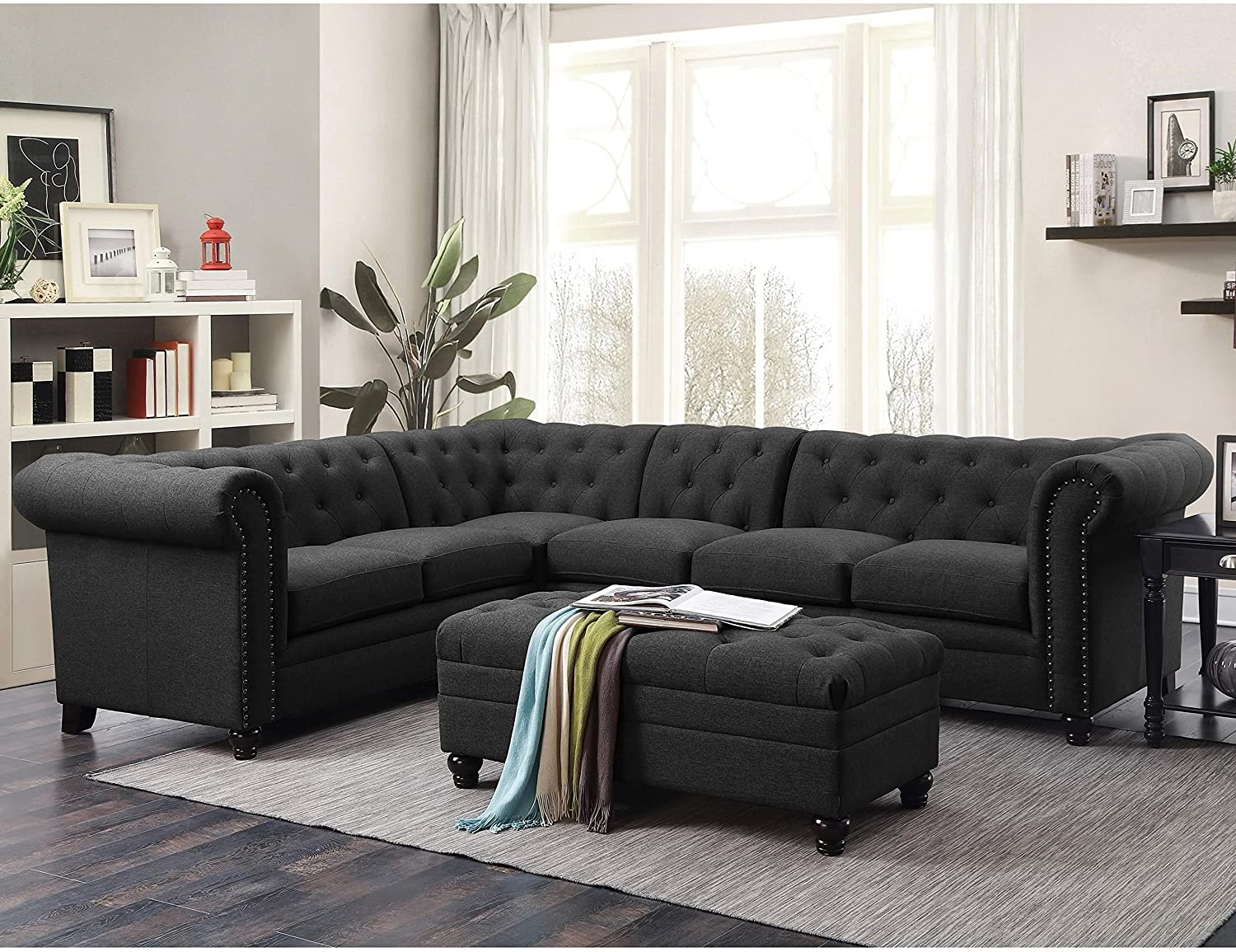 Coaster Home Furnishings Living Room Sectional Sofa, Grey/Black