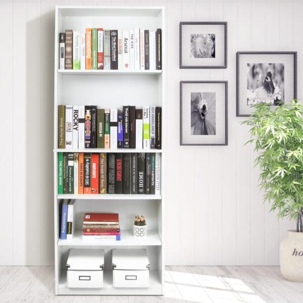 FURINNO JAYA Simply Home 5-Shelf Bookcase, 5-Tier, White