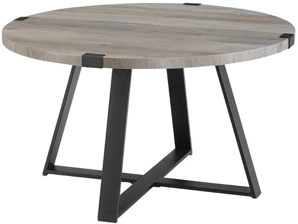 We Furniture Rustic Farmhouse Round Metal Coffee Accent Table