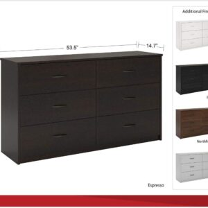 Mainstays 6 Drawer Dresser, White Stipple