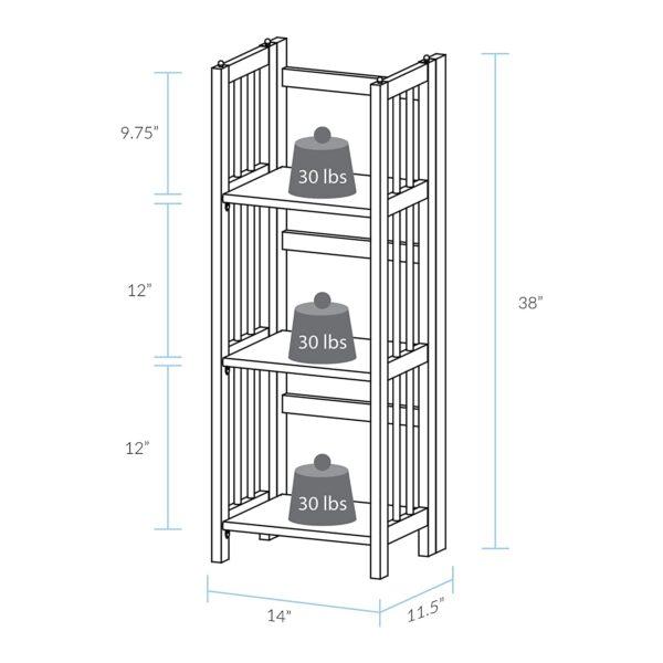 "Casual Home 3-Shelf Folding Bookcase (14"" Wide)-Mahagony"