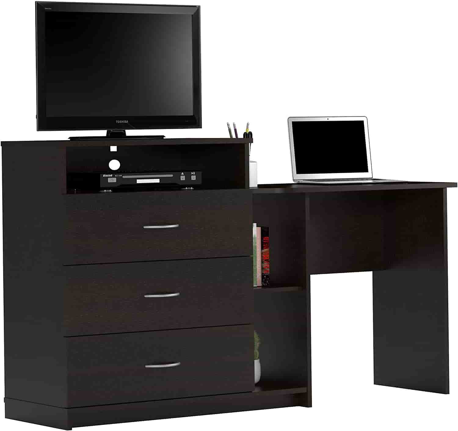 Ameriwood Home Rebel Media Dresser and Desk, Espresso