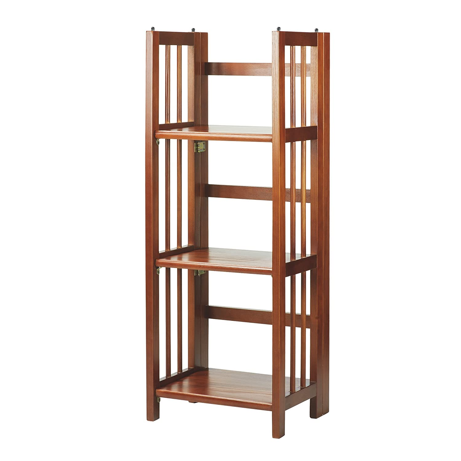 "Casual Home 3-Shelf Folding Bookcase (14"" Wide)-Mahagony"