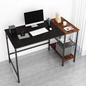 JOISCOPE Computer Desk with Shelves,Laptop Table with Grid Drawer,47 inches(Black Oak Finish)