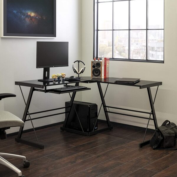 Walker Edison Furniture Company Modern Corner L Shaped Glass Computer Writing Gaming Gamer Command Center Workstation Desk Home Office, 51 Inch, Black