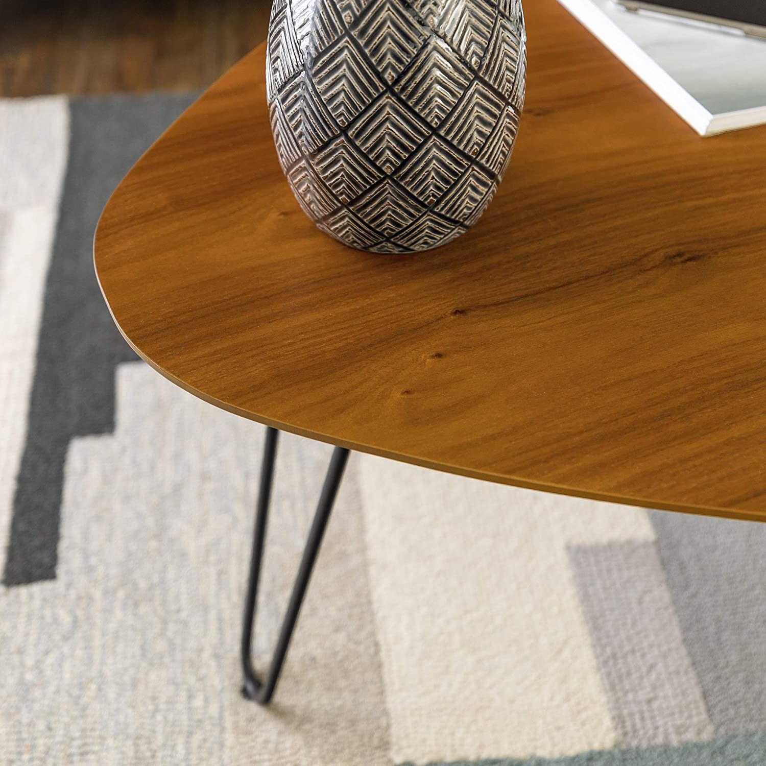 WE Furniture Mid Century Modern Hairpin Coffee Accent Table Living Room, 32 Inch, Walnut