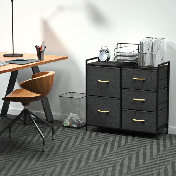 ROMOON Dresser Organizer with 5 Drawers, Fabric Dresser Tower for Bedroom, Hallway, Entryway, Closets - Dark Indigo