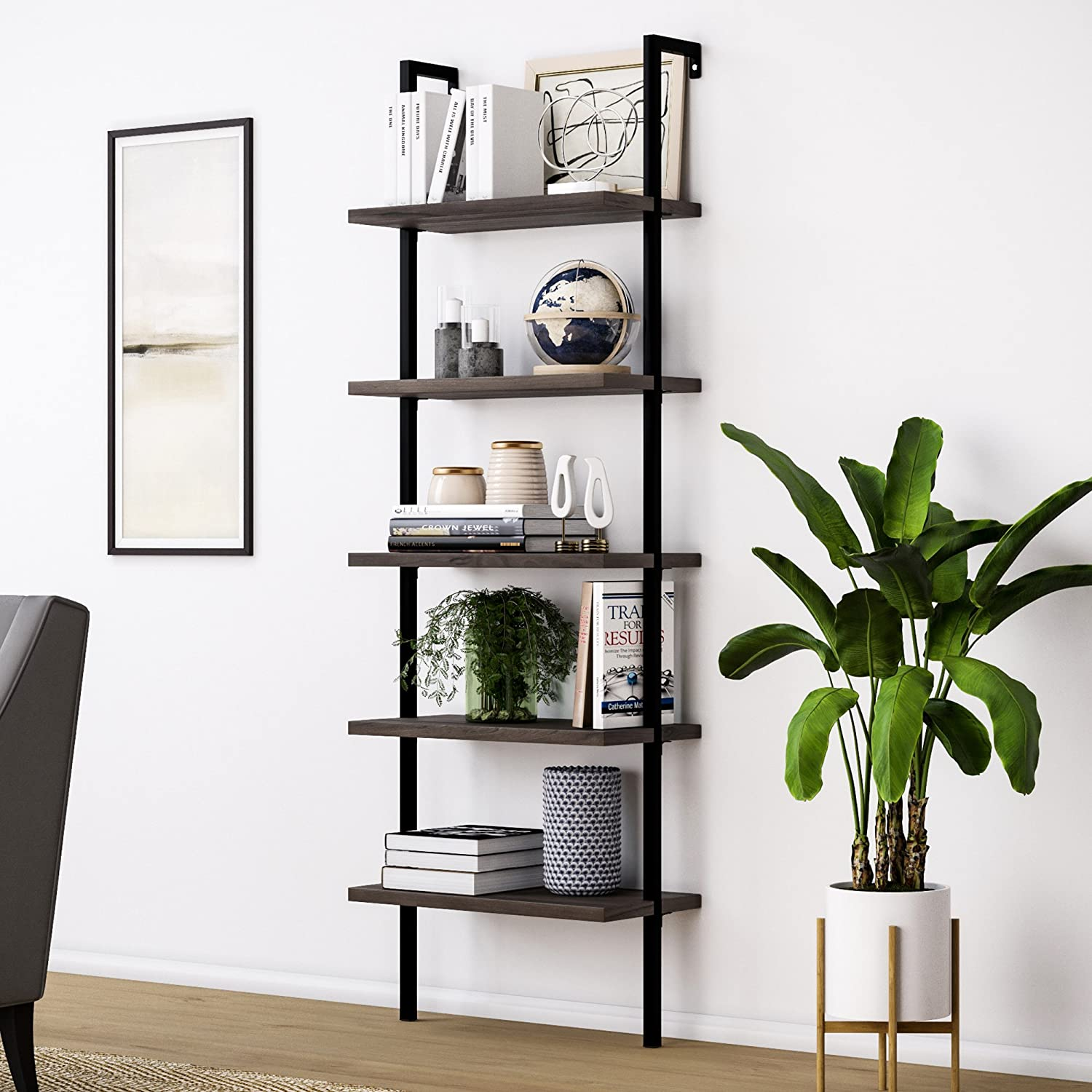 Nathan James Theo 5-Shelf Wood Ladder Bookcase with Metal Frame, Warm Walnut/Black