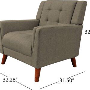 Christopher Knight Home 305541 Evelyn Mid Century Modern Fabric Arm Chair, Mocha, Walnut