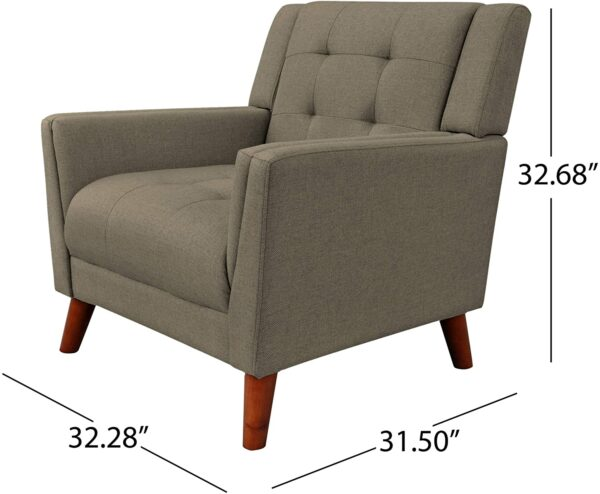 Christopher Knight Home 305541 Evelyn Mid Century Modern Fabric Arm Chair, Mocha, Walnut