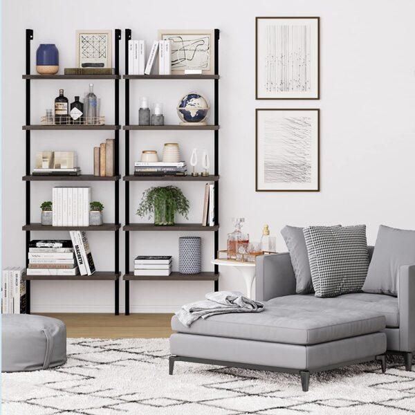 Nathan James Theo 5-Shelf Wood Ladder Bookcase with Metal Frame, Warm Walnut/Black