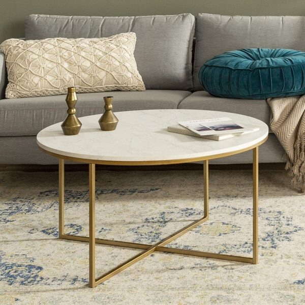 Walker Edison Furniture Company Modern Round Coffee Accent Table Living Room, Marble/Gold