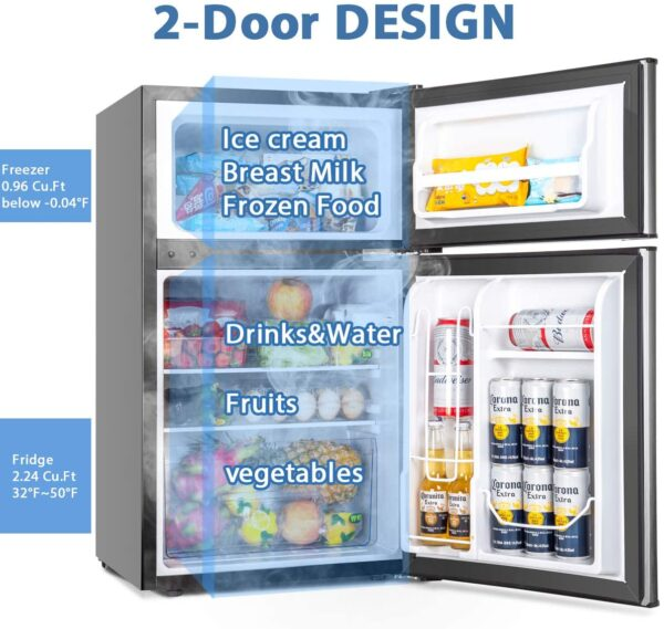 Euhomy Mini Fridge with Freezer, 3.2 Cu.Ft Compact Refrigerator with freezer, 2 Door Mini Fridge with freezer, Upright for Dorm, Bedroom, Office, Apartment