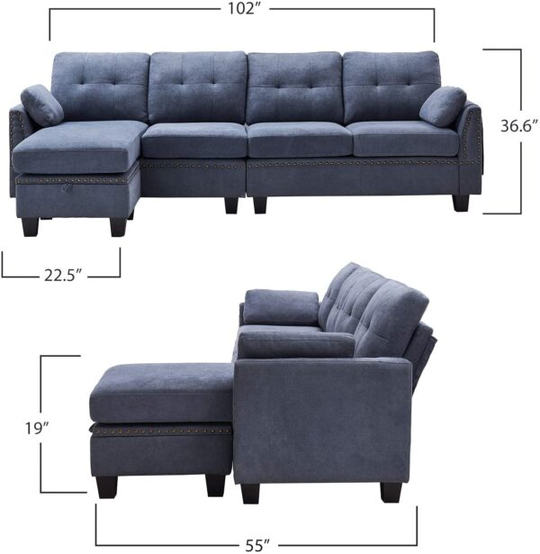 HONBAY Reversible Sectional Sofa Couch for Living Room L-Shape Sofa Couch 4-seat Sofas Sectional for Apartment Bluish Grey