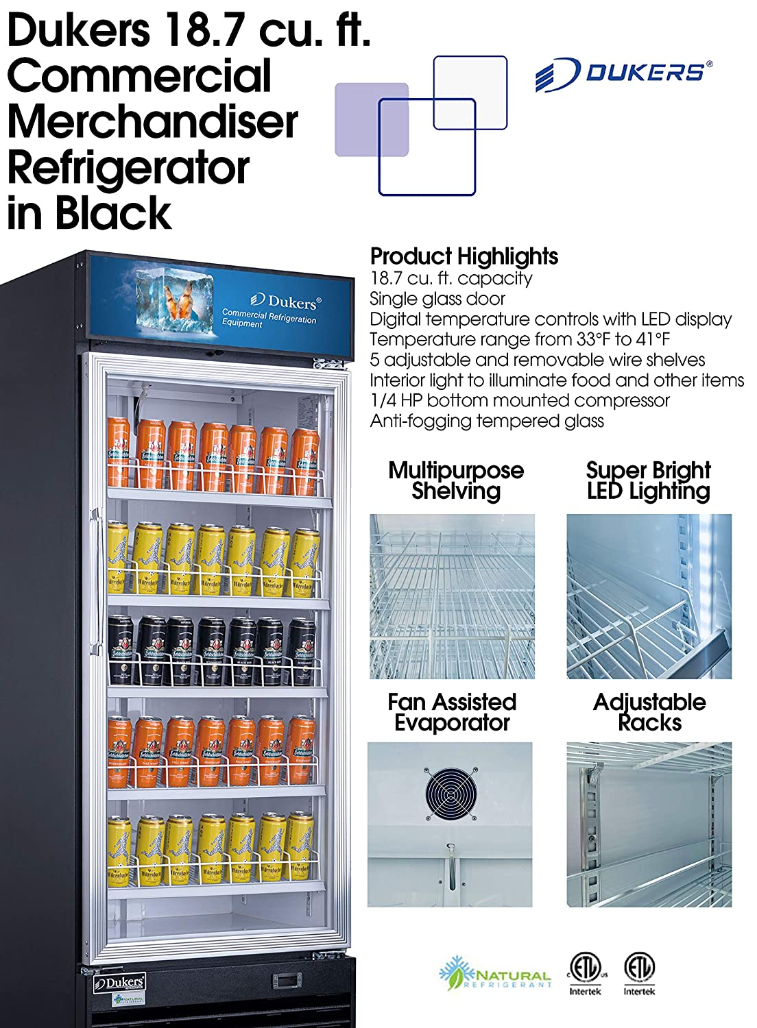 Dukers DSM-19R 18.7 cu. ft. Commercial Display Cooler Merchandiser Refrigerator