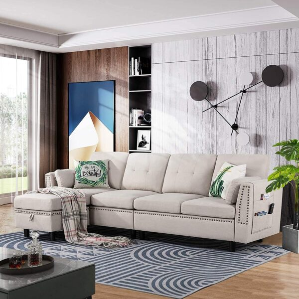 Walsunny Reversible Sectional Sofa Couch for Living Room L-Shape Sofa Couch 4-seat Sofas Sectional for Apartment (Beige)
