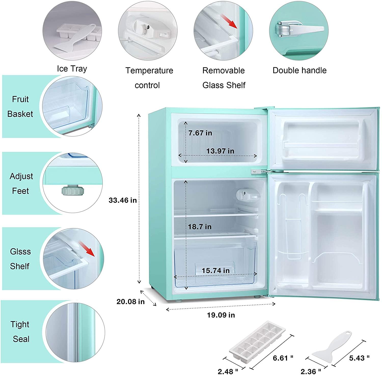 Antarctic Star Compact Mini Refrigerator Separate Freezer, Small Fridge Double 2-Door Adjustable Removable Retro Stainless Steel Shelves Garage Camper Basement/Dorm/Office 3.2 cu ft