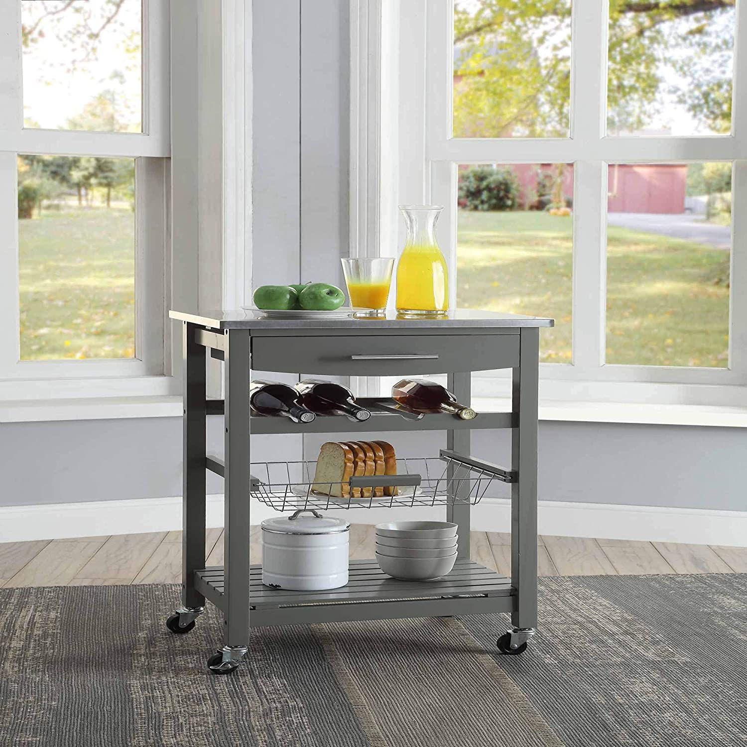 Linon Home Décor Kitchen Cart Gray