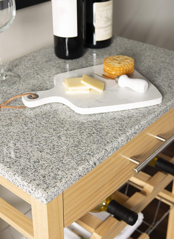 "Linon Kitchen Island Granite Top, 33.88"" x 22.8"" x 15.63"", Natural"