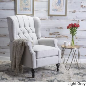 Christopher Knight Home Walter Fabric Recliner, Light Grey