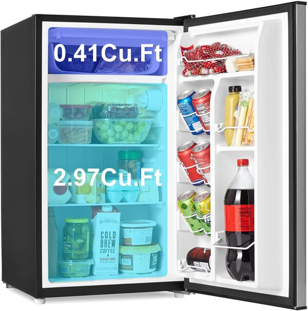 Walsh WSR35S1 Compact Refrigerator, Single Door Fridge, Adjustable Mechanical Thermostat with Chiller, Reversible Doors, 3.5 Cu.Ft, Stainless Steel Look