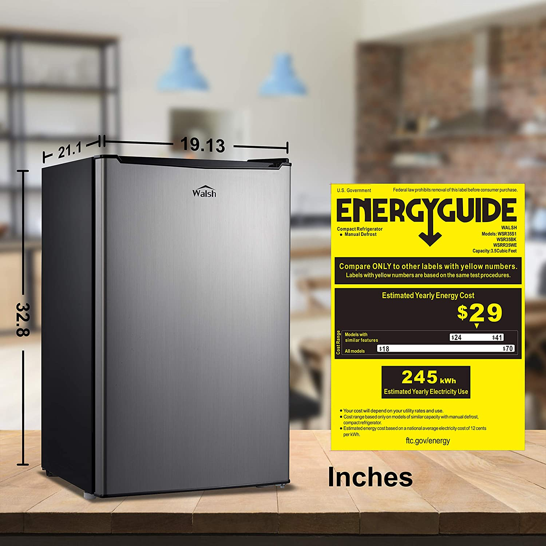 Walsh WSR35S1 Compact Refrigerator, Single Door Fridge, Adjustable Mechanical Thermostat with Chiller, Reversible Doors, 3.5 Cu.Ft, Stainless Steel Look