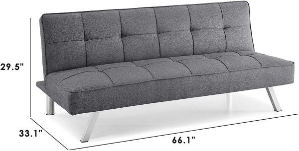 Serta RNE-3S-CC-SET Rane Collection Convertible Sofa, L66.1 x W33.1 x H29.5, Charcoal