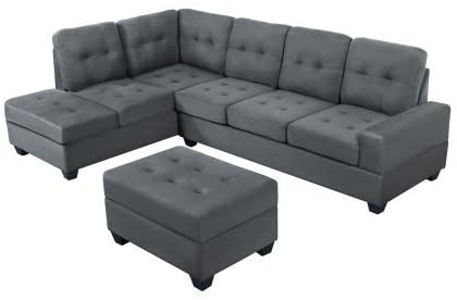 STARTOGOO Modern 3 Piece Sectional, L-Shaped Sofa Couch with Reversible Chaise Lounge Storage Ottoman and Cup Holders, Gray Microfiber, Grey